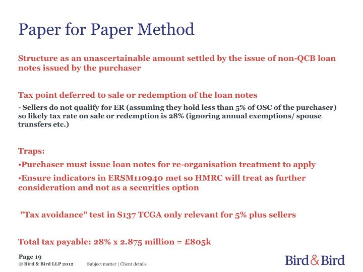 Paper for Paper Method
