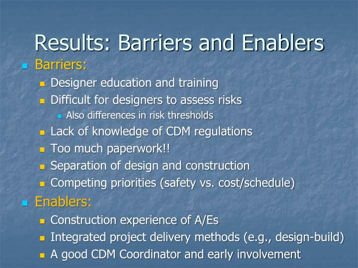 Results: Barriers and Enablers