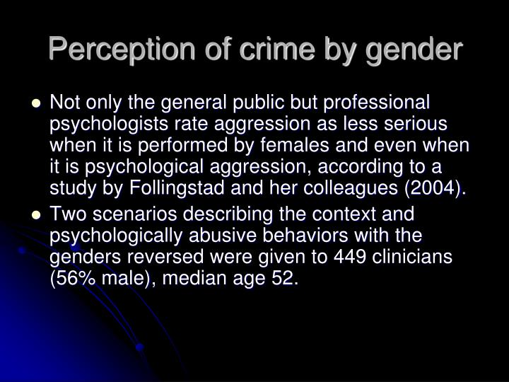 Perception of crime by gender