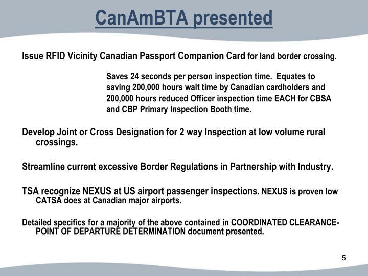 CanAmBTA presented