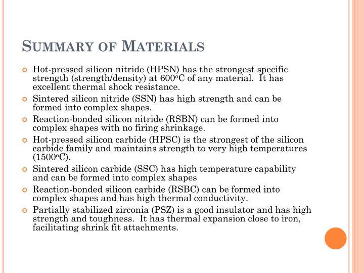 Summary of Materials