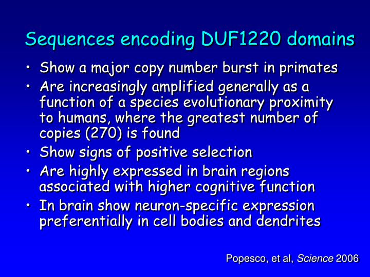 Sequences encoding DUF1220 domains