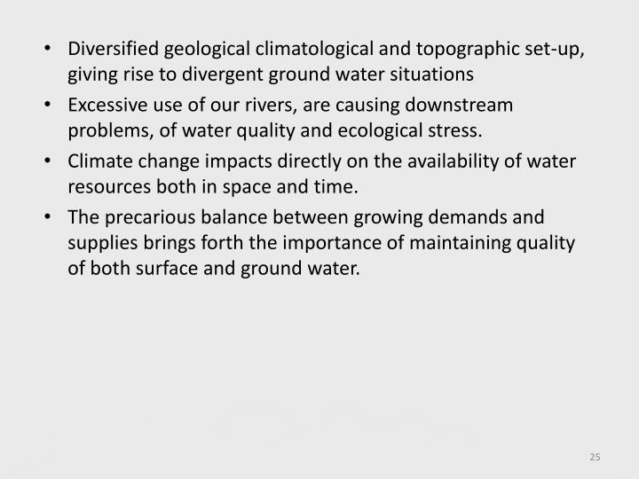 Diversified geological climatological and topographic set-up, giving rise to divergent ground water situations