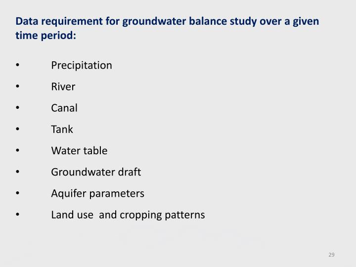 Data requirement for groundwater balance study over a given time period: