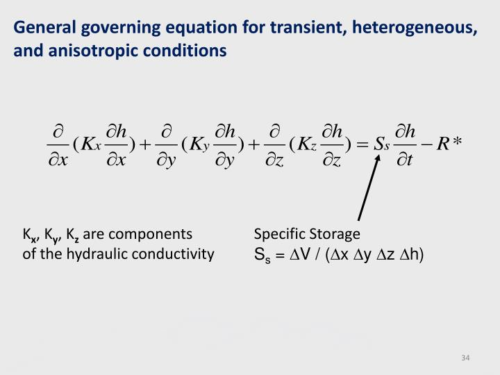 General governing equation for transient, heterogeneous, and anisotropic conditions