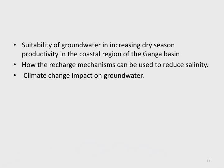 Suitability of groundwater in increasing dry season productivity in the coastal region of the Ganga basin