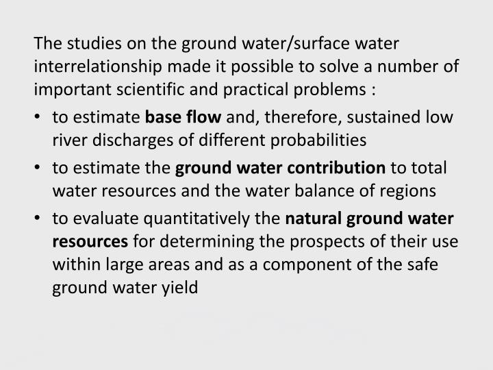 The studies on the ground water/surface
