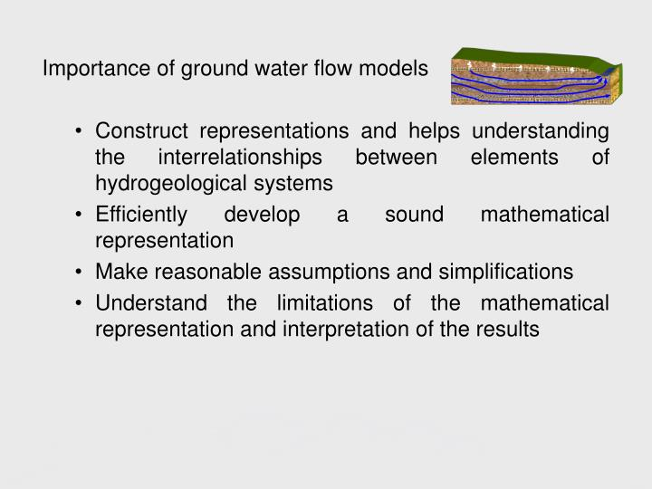 Importance of ground water flow models