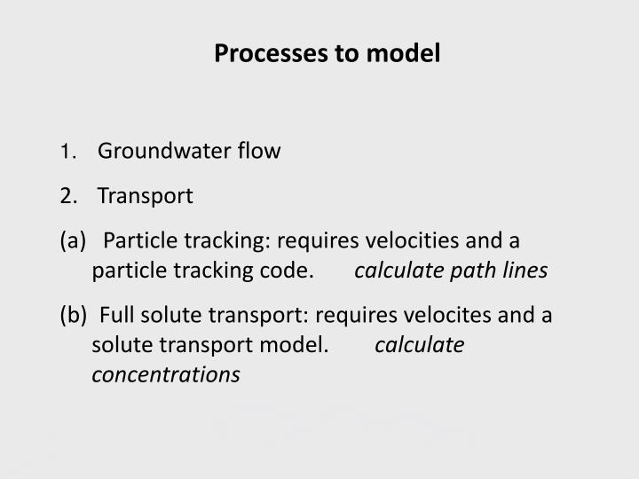 Processes to model