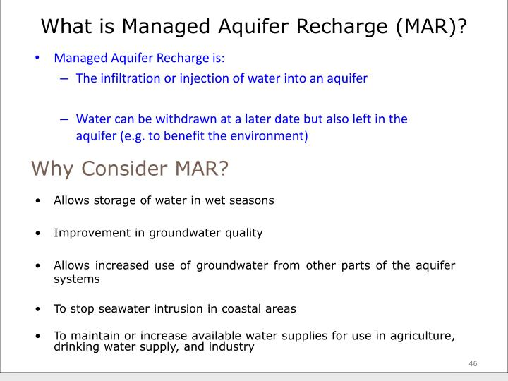 What is Managed Aquifer Recharge (MAR)?