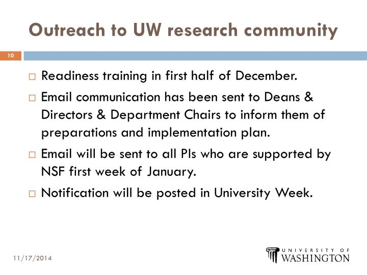 Outreach to UW research community