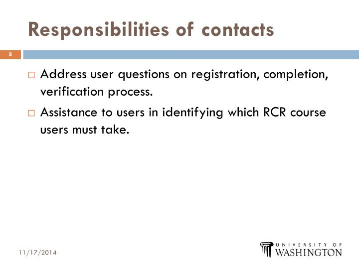Responsibilities of contacts