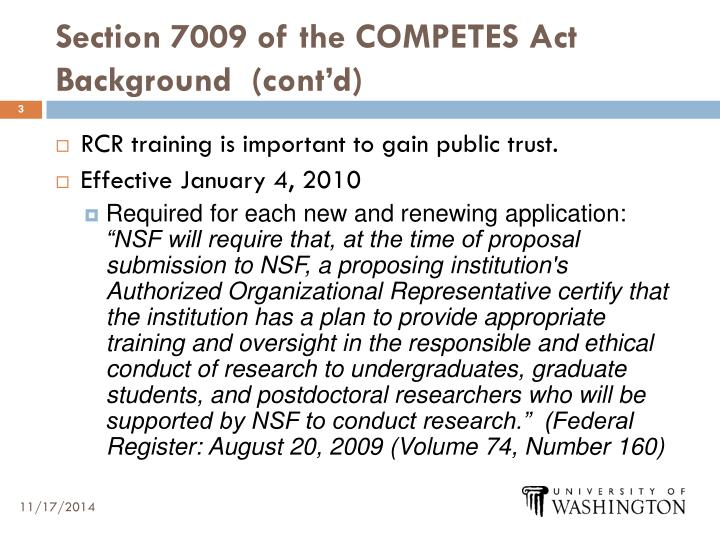 Section 7009 of the competes act background cont d