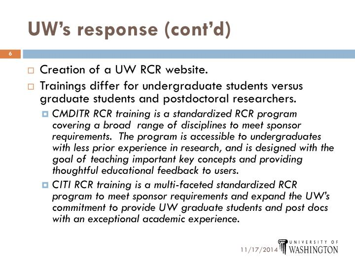 UW's response (cont'd)