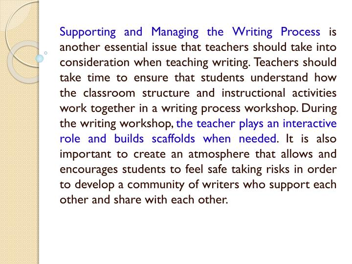 Supporting and Managing the Writing Process