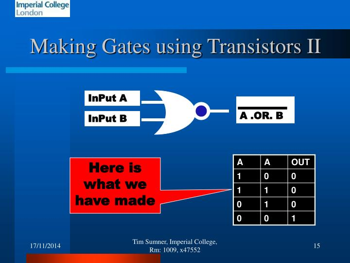 Making Gates using Transistors II