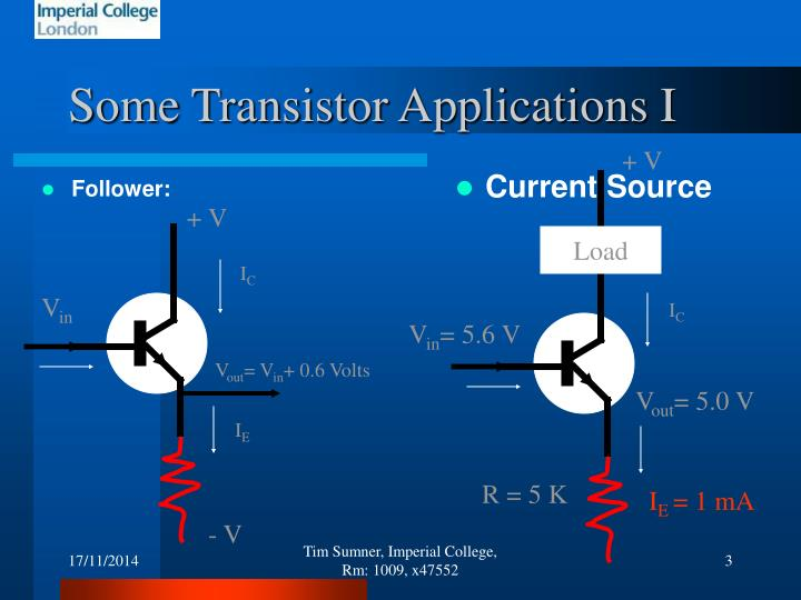 Some Transistor Applications I
