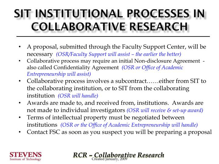 SIT Institutional Processes in collaborative research