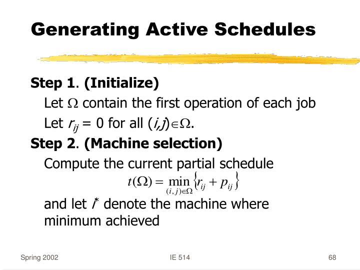 Generating Active Schedules