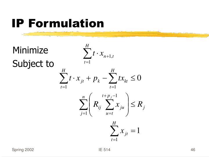IP Formulation