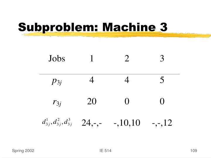 Subproblem: Machine 3