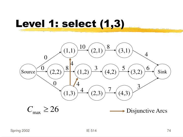 Level 1: select (1,3)