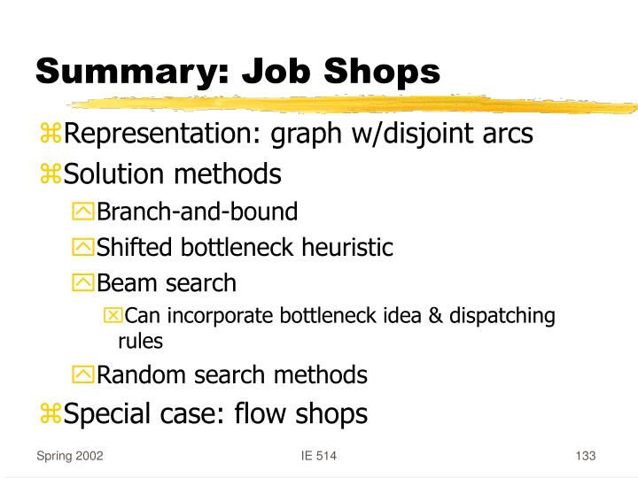 Summary: Job Shops