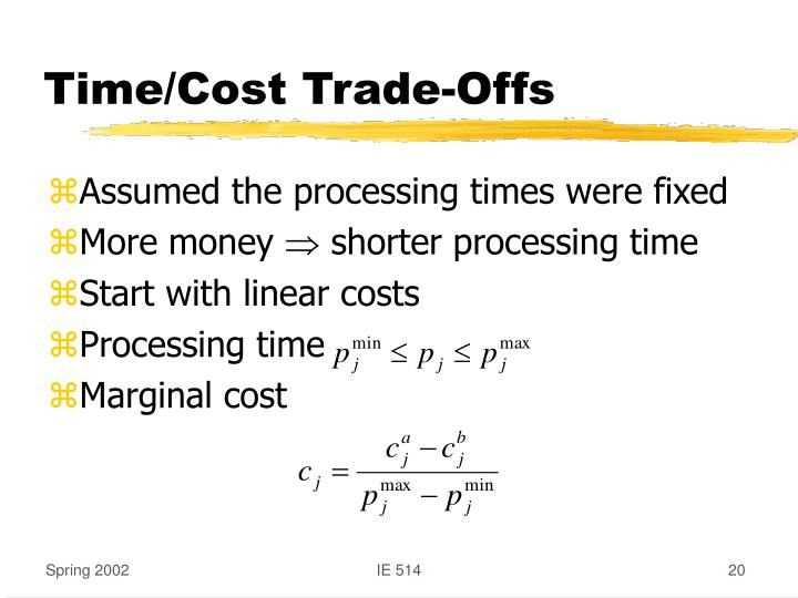Time/Cost Trade-Offs