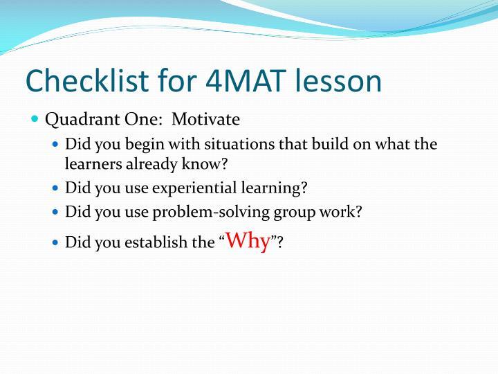 Checklist for 4MAT lesson