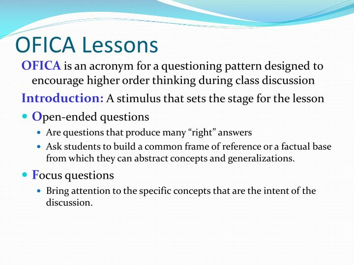 OFICA Lessons