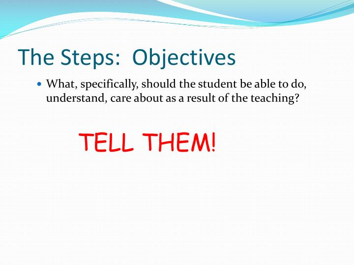 The Steps:  Objectives