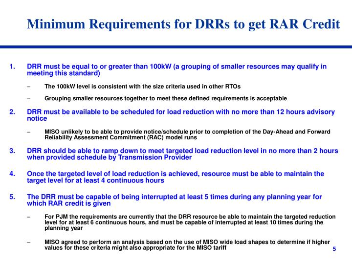 Minimum Requirements for DRRs to get RAR Credit