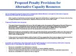 proposed penalty provisions for alternative capacity resources
