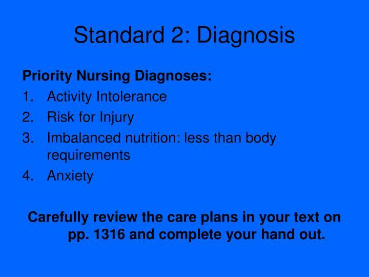 Standard 2: Diagnosis