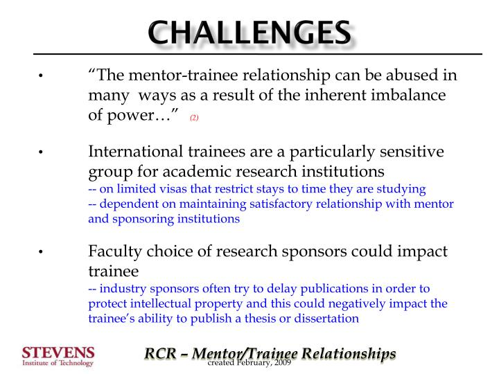 """The mentor-trainee relationship can be abused in 	many 	ways as a result of the inherent imbalance 	of power…"""