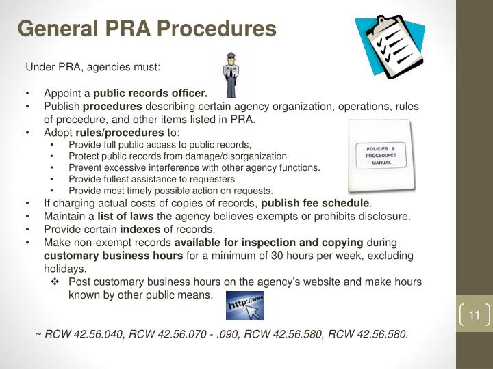 General PRA Procedures