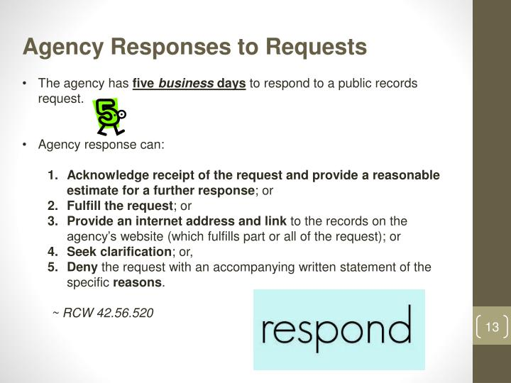 Agency Responses to Requests