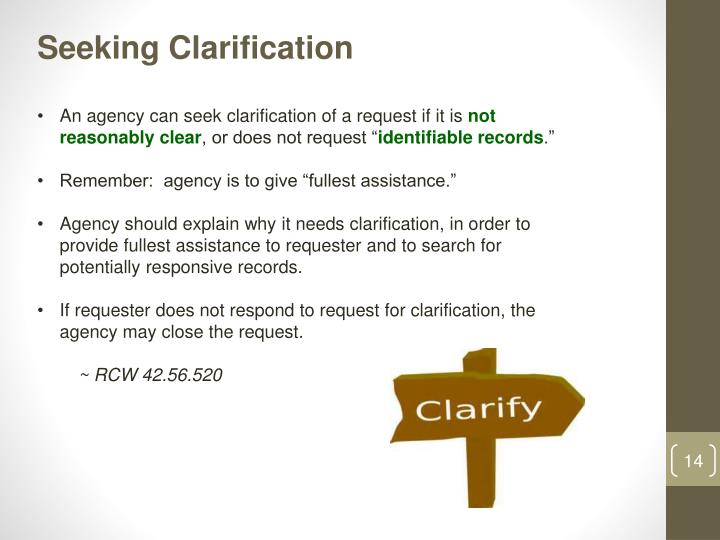 Seeking Clarification
