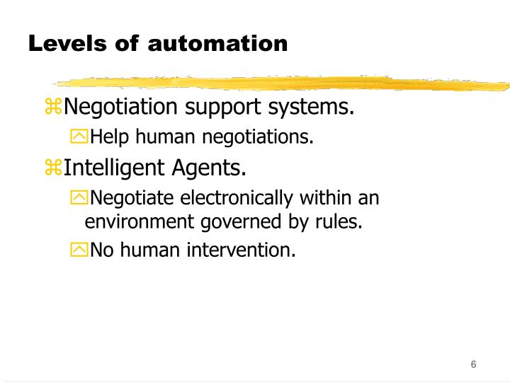 Levels of automation