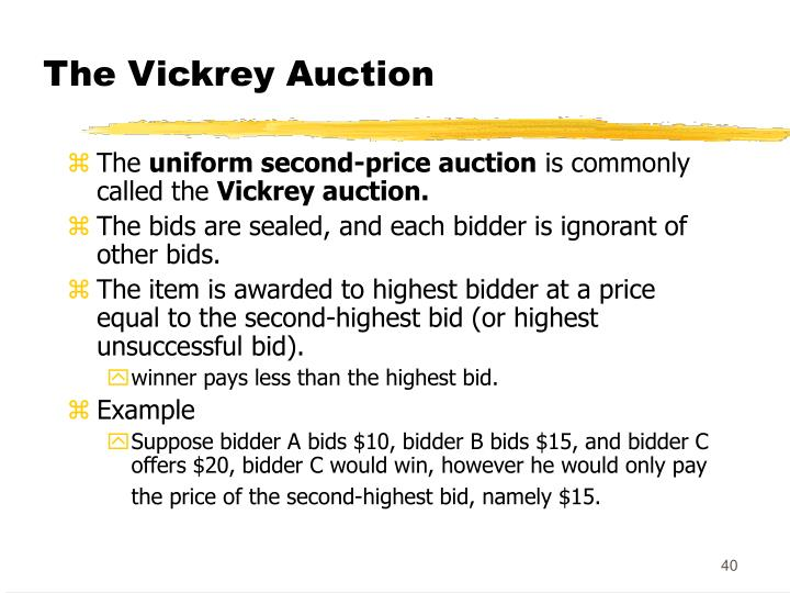 The Vickrey Auction