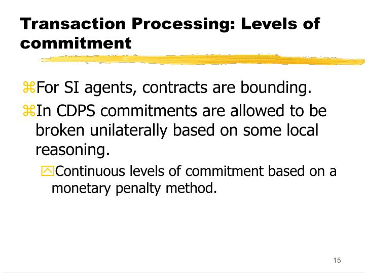 Transaction Processing: Levels of commitment