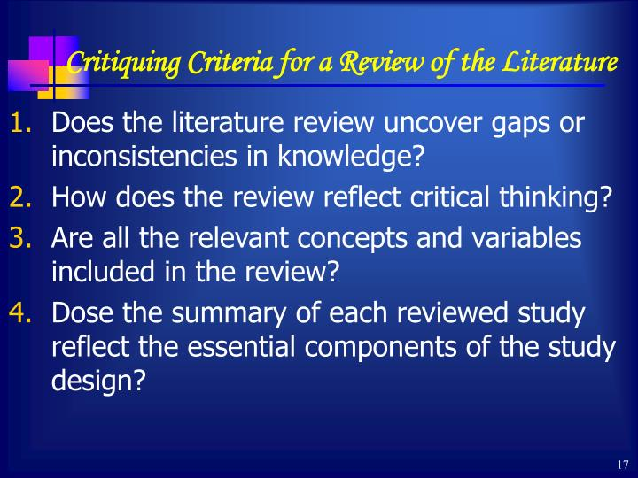 Critiquing Criteria for a Review of the Literature