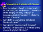 critiquing criteria for a review of the literature1