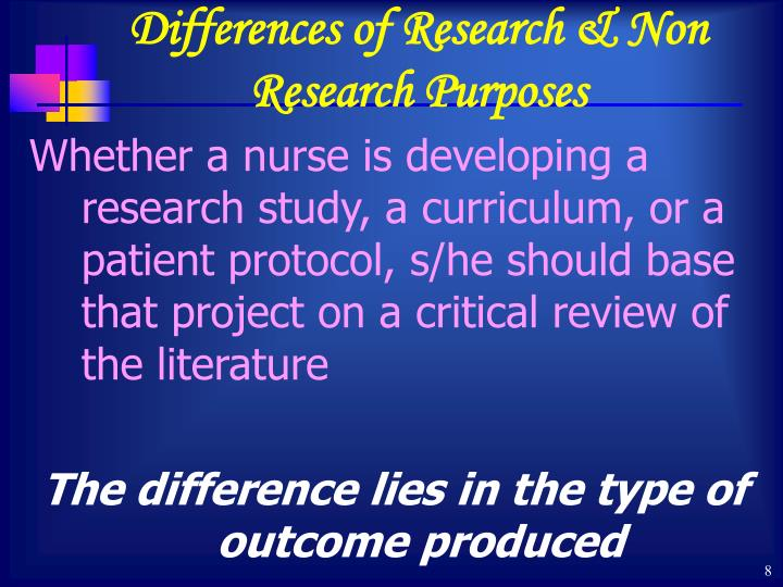 Differences of Research & Non Research Purposes