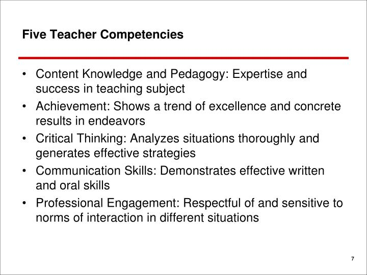 Five Teacher Competencies