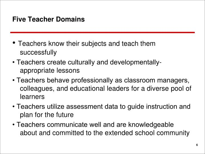Five Teacher Domains
