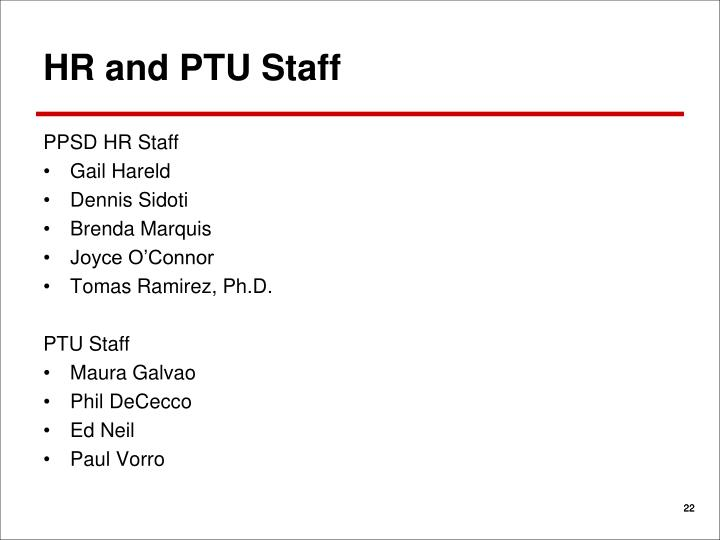 HR and PTU Staff