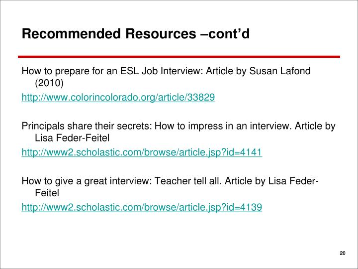 Recommended Resources –cont'd