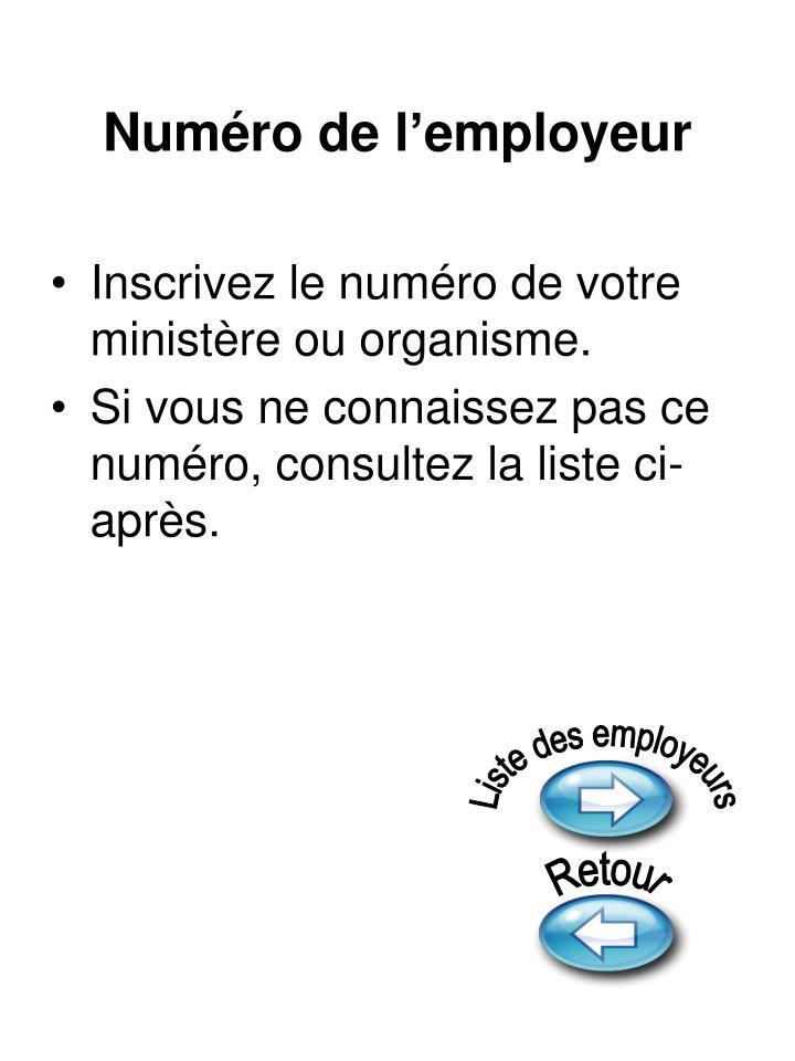Numéro de l'employeur