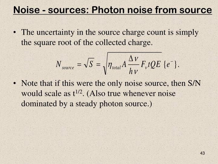 Noise - sources: Photon noise from source